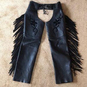 Pants - NWOT! Black Leather Fringe Motorcycle Chaps Pants